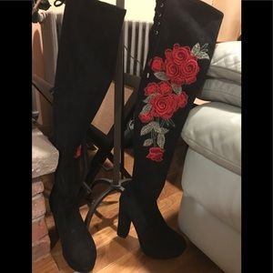Ultrasuede over the knee boots size 6